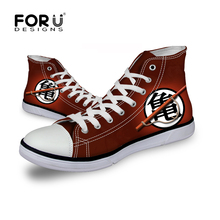 FORUDESIGNS High Top Classic Men Canvas Shoes Spring Autumn One Piece Word Print Lace Up Leisure Cartoon Anime Walking Shoes