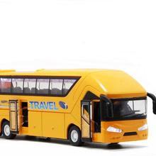 1:50 Масштаб сплава Pull Back автобус модель игрушечной машины экскурсия автобус автомобиль игрушки с/свет и звук модель автобуса автомобиль обратно к мощности