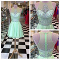 Coctail dress short sparkly vestidos fuera del hombro de la gasa de ver a través de abalorios rhinestone real vestidos de coctel elegantes