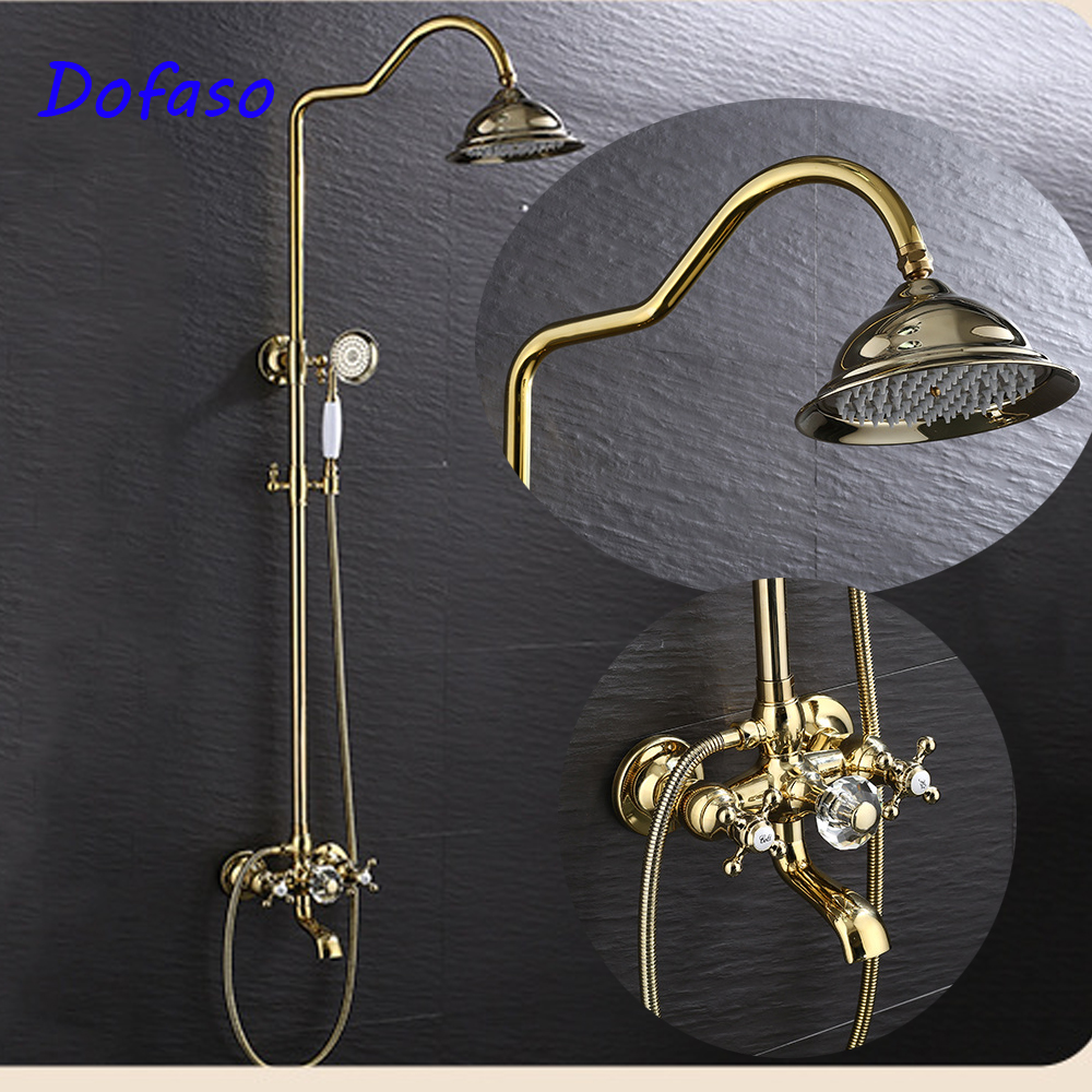 Dofaso best gold shower faucet bathroom golden shower set Brass Rain shower head 8 inch Hot and cold water mixer taps