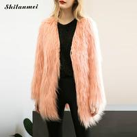 Plus Size Women Faux Fur Coats Women Winter Black Pink Fur Coat Long Sleeve Fake Fur