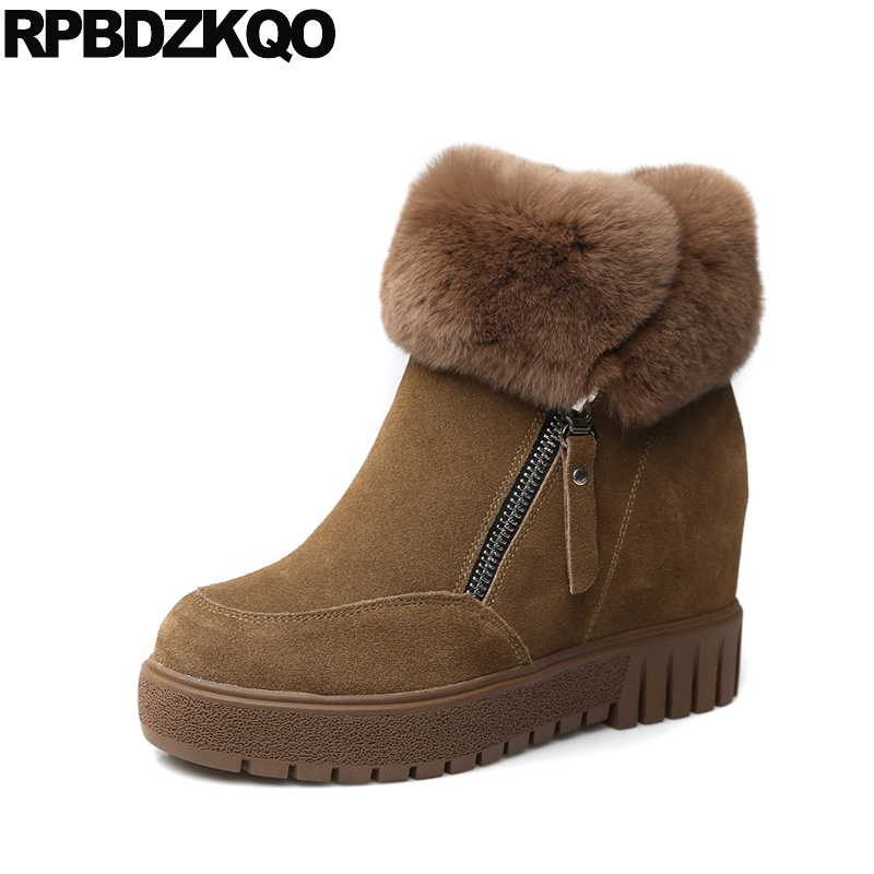 Booties Warm Shoes Winter Round Toe Side Zip Boots Brown Real Fur Flat Casual Ankle Female New Ladies 2017 Chinese Fashion Short warm brown