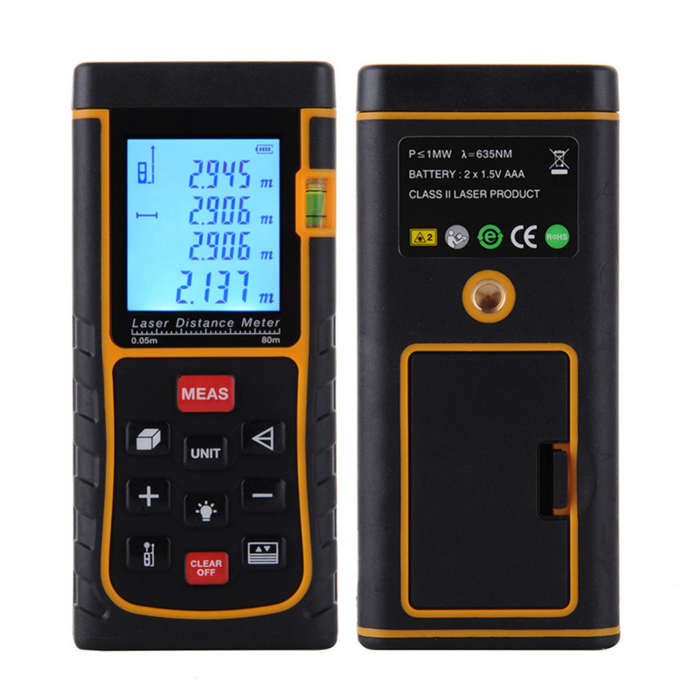 80m 262ft Bubble Level Tool Digital Laser Distance Meter Measure Tape Area/Volume M/in/Ft Laser Rangefind Laser Range Finder digital laser distance meter bigger bubble level tool rangefinder range finder tape measure 80m area volume angle tester
