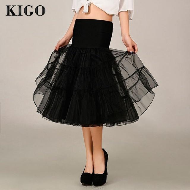 KIGO Retro Vintage Skirt Rockabilly Tulle Skirts Womens Fashion High Waist Underskirt Midi Tutu Skirts Adults Saias Jupe K4001