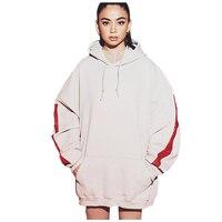 Winter Hoodies Women Solid Side Strap Long Loose Sweatshirts Front Pocket Cotton Thick Drop Shoulder Top