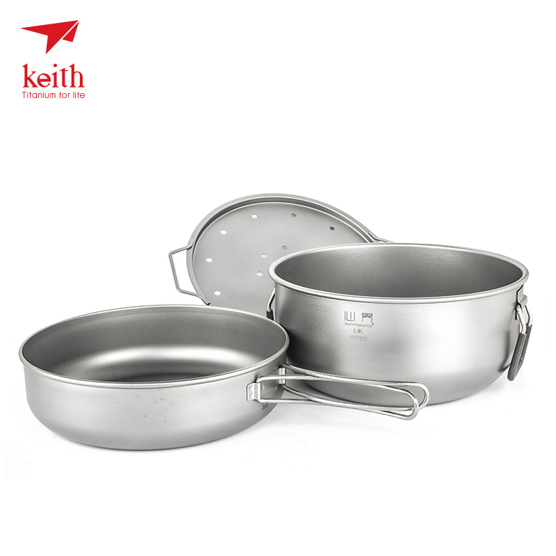 Keith Outdoor Titanium Steamer Pot Pan Set Camping Picnic Basket Pot Tableware For Fire Induction Cooker