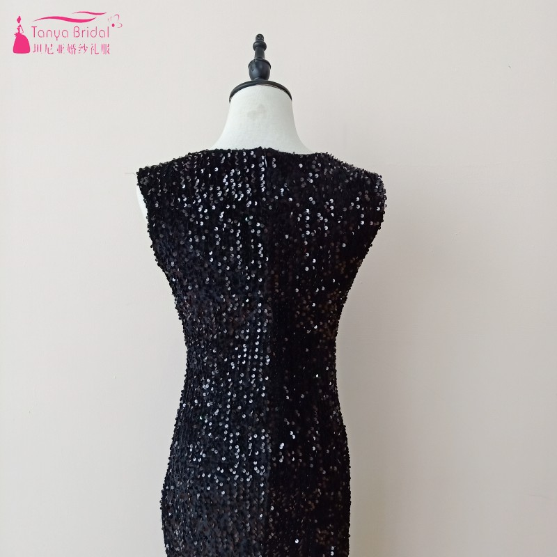Коктейльные платья длиной до колена без рукавов; цвет синий, бордовый, черный; вечерние платья с блестками; сексуальное платье с разрезом сбоку для выпускного вечера; DQG733