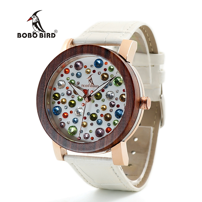 BOBO BIRD V-J04/J05/J06 Wooden Watches Ladies Quartz Wristwatch Diamond Dial Watch with Leather Strap