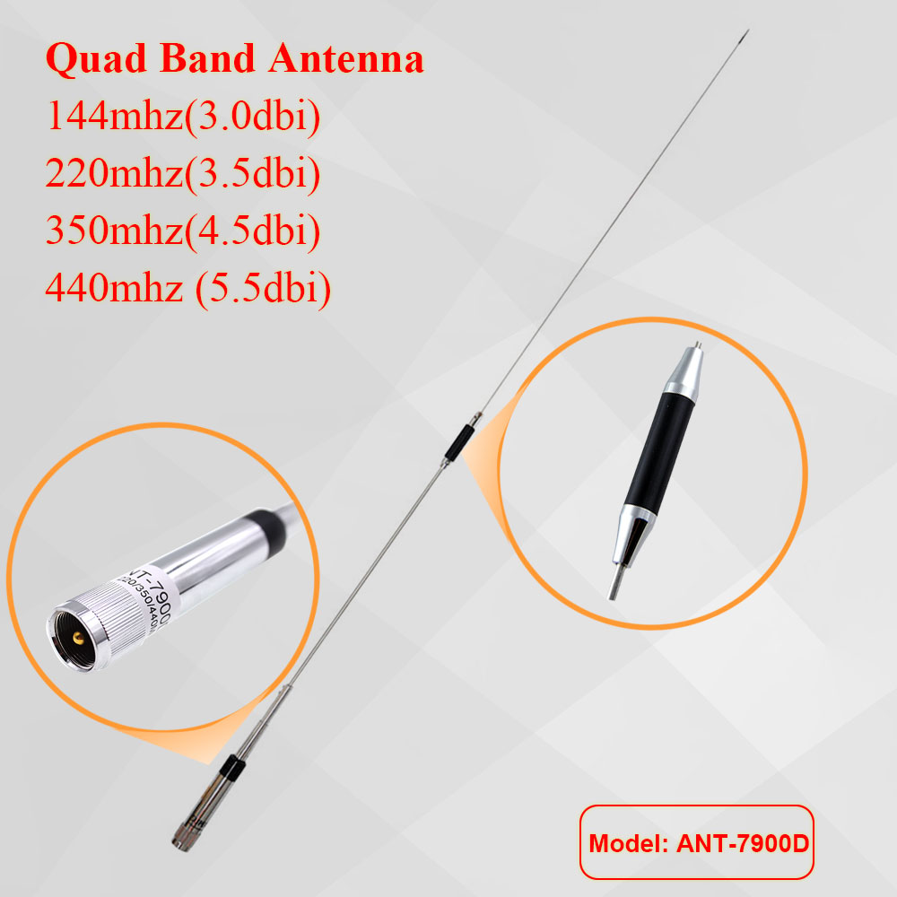 Mobile Radio Quad Band Antenna 144/220/350/440MHz For QYT KT-7900D Car Radio KT7900D
