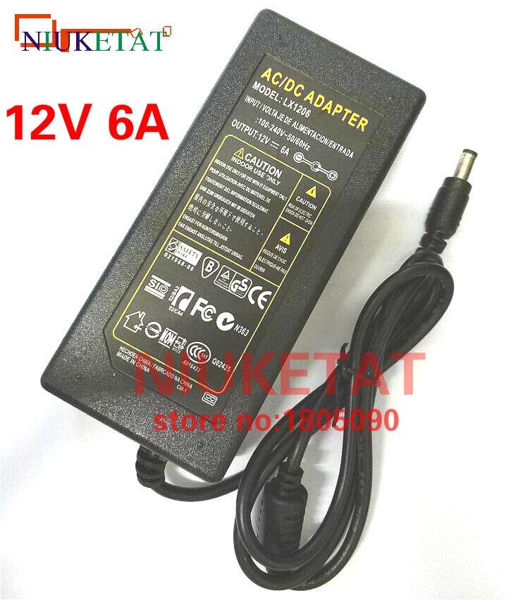1 pcs 12 V 6A 12V6A AC100V-240V LED lumière puissance adaptateur LED Puissance Transformateur Adaptateur d'alimentation pour LED bande 5050 2835 pas avec ligne