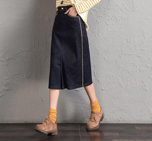 De Otoño Casual Tyn0806 Mujeres Moda Mediados De Mezcla Algodón Negro Denim Las Faldas Para becerro Más Nueva Adelgaza Rectas Tamaño Primavera 7qBxwwE