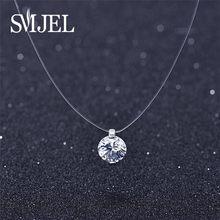 SMJEL Runde Unsichtbare Kette Kristall Strass Halsband Halskette Anhänger Frauen Unsichtbare Angelschnur Halskette Schmuck Dekoration