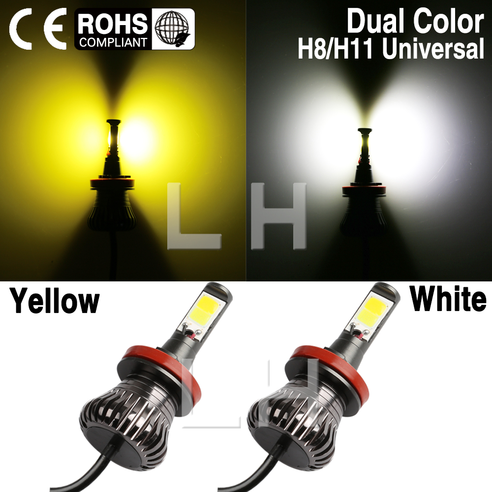 New Super brigher H11 H8 H9 Car DRL Fog Driving LED Light Bulbs Golden Yellow White /  Ice Blue white / Blue white / Dual Color car cob led h7 bulb fog light parking lamp bulbs driving foglight 7 5w drl 2pcs amber yellow white red ice blue