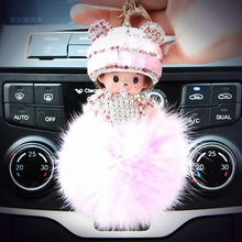 Hat Monchichi Key Chain Sleutelhanger Strass Keyring Fluffy Ribbit Fur Ball Pom Pom Women Bag Charm Porte Clef Fo-K002-rose