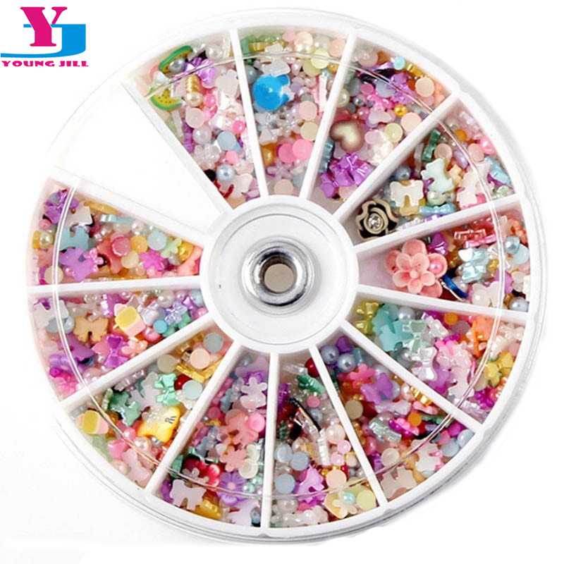 1200pcs Mixed 3D Nail Art Decorations Tips Glitters Flower Star Heart Rhinestones Slice Nail Tools Manicure+Wheel Free Shipping
