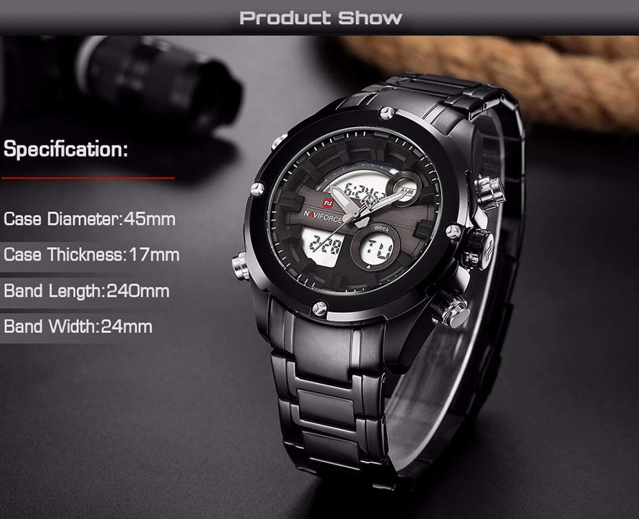 Top Luxury Brand NAVIFORCE Men Full Steel Sport Watches Men's Quartz Analog LED Clock Man Military Wrist Watch Relogio Masculino 3