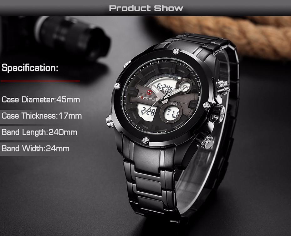 Top Luxury Brand NAVIFORCE Men Full Steel Sport Watches Men's Quartz Analog LED Clock Man Military Wrist Watch Relogio Masculino 3