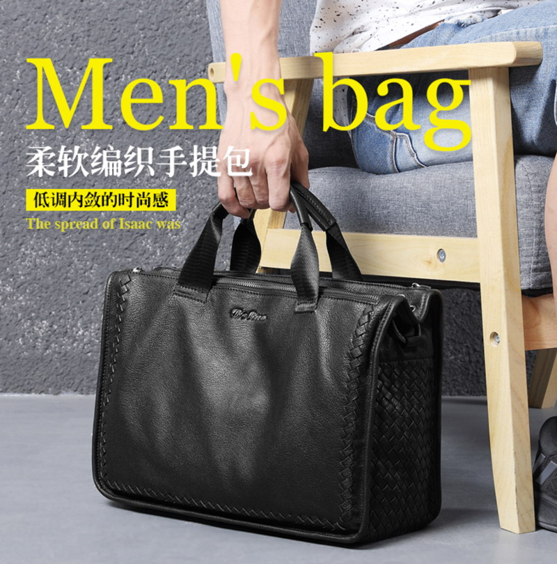 Luxury Sheepskin Leather Brand Briefcase Genuine Leather Bag, Designer Bag Weave Style Briefcase