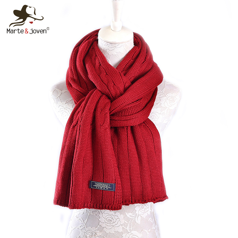 Marte Joven Fashion Big Size Imitation Cashmere Winter Crochet Scarf Women Solid Color Long Knitted Scarves