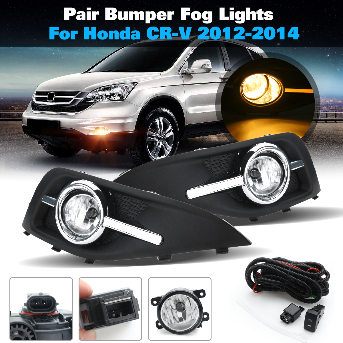 for Honda CRV 2012~2014 Fog Light 12V 55W 1Pair Front Left Right Bumper Fog Light Lamp Grilles w/ Harness Bulb Replacement