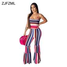 Rainbow Striped Sexy Bodycon Jumpsuits For Women Spaghetti Strap Backless Flare Romper Summer Sleeveless One Piece Party Overall stylish striped spaghetti strap ruffled one piece swimsuit for women