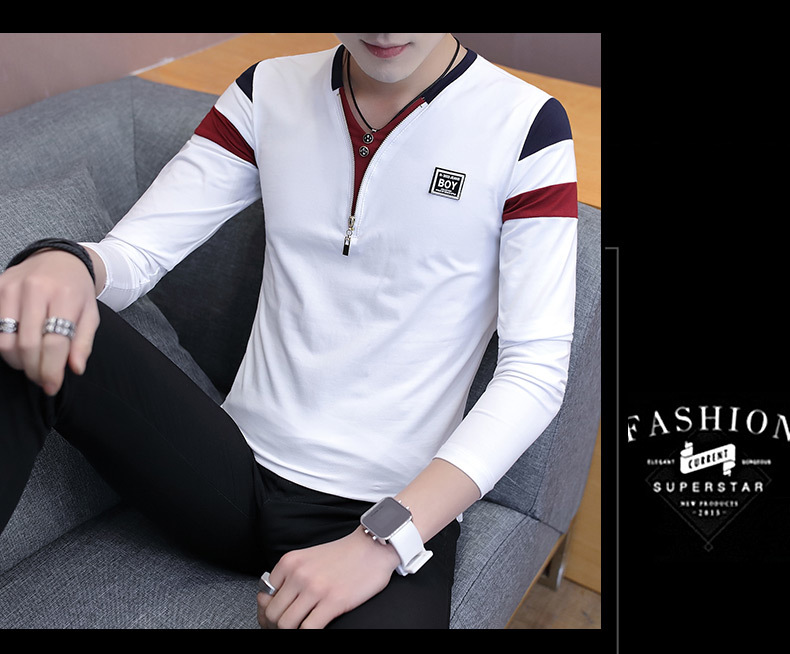 2019 Spring T-Shirt Men Long Sleeve Casual Zipper T Shirts Self-cultivation Design Simple T Shirt Brand New Round Neck Homme 13