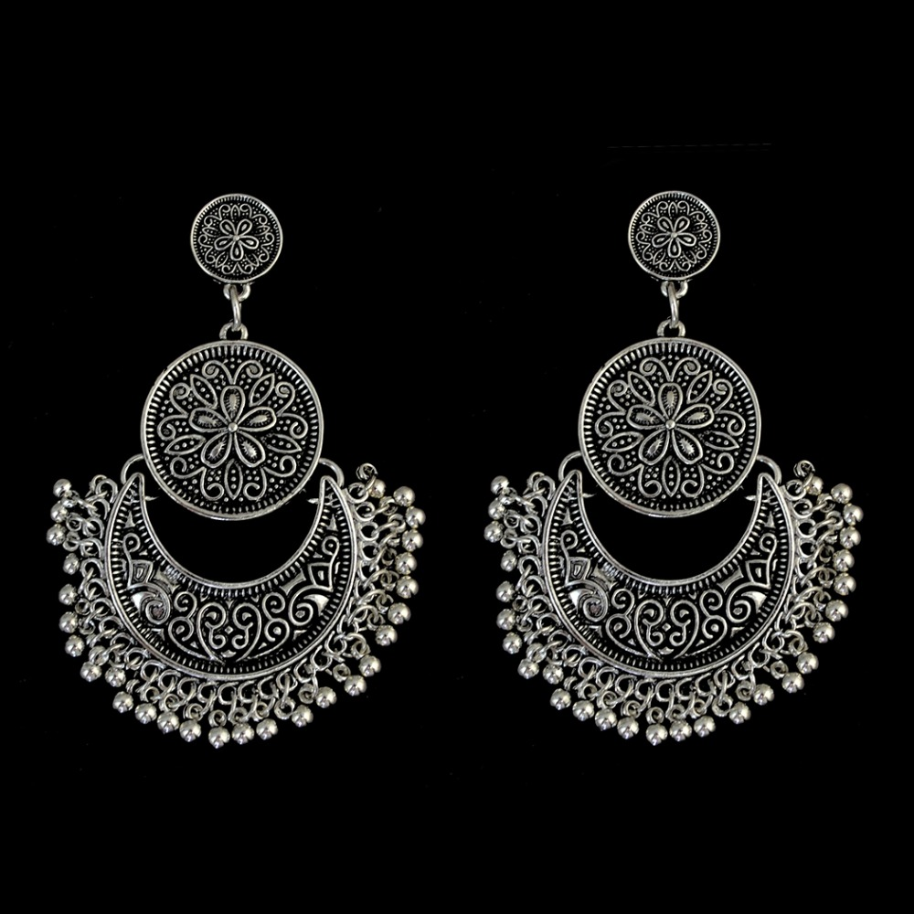 Gypsy Bohemian Antique Gold Silver Bronze Drop Earring Moon Shape Carved Flower Tassel Dangle Earrings <font><b>Afghanistan</b></font> India Jewelry image