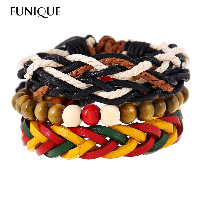 FUNUQE Hip-hop Style Rainbow Color Rope Chain Bracelet & Bangles for Women Men Wooden Beads Bracelet pulseira masculina