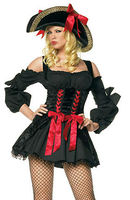 FREE SHIPPING zt8703 Deluxe Lady Pirate caribbean swashbuckle Wench fancy Dress Costume size S,M,L,XL,2XL