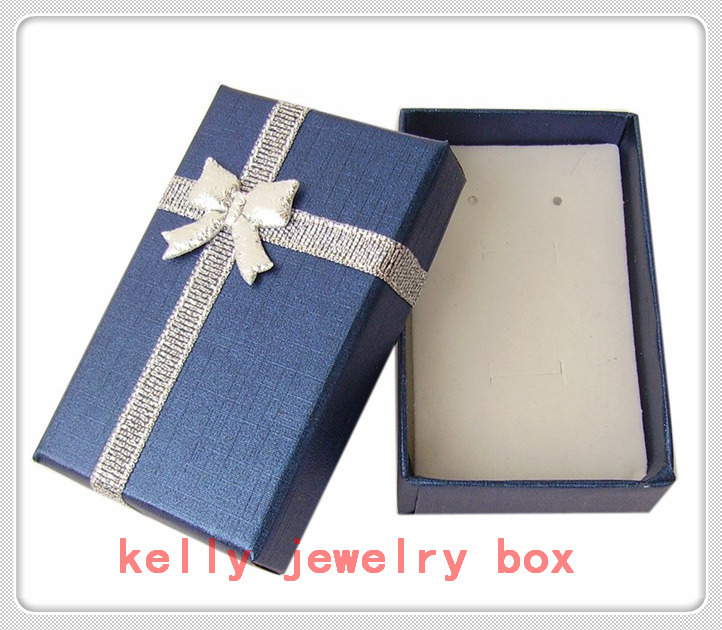 Free Shipping 48pcs/lot Blue Paper Jewelry Box 5x8x3cm Earring Ring Box Cute Necklace Gift Box Jewelry Display Packaging Boxes