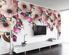 Beibehang 3d wallpaper murals American hand-painted rose flower vine modern living room bedroom TV background