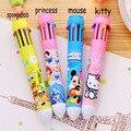 B26 10 Colores Papelería Creativa Hello Kitty Kawaii Bolígrafo de Oficina Material Escolar Plumas Útiles Escolares Papeleria