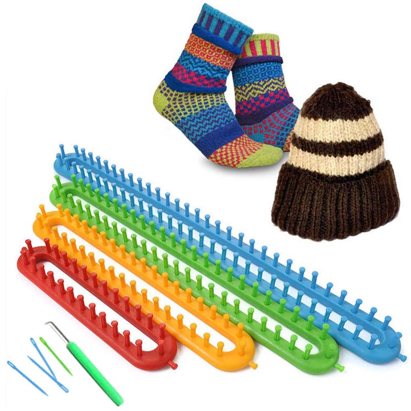 1pc Wooden Knitting Loom Easy Weaving Handmade Crafts Needlework Kit Tool with Hook for Hat Scarf Socks Sweater