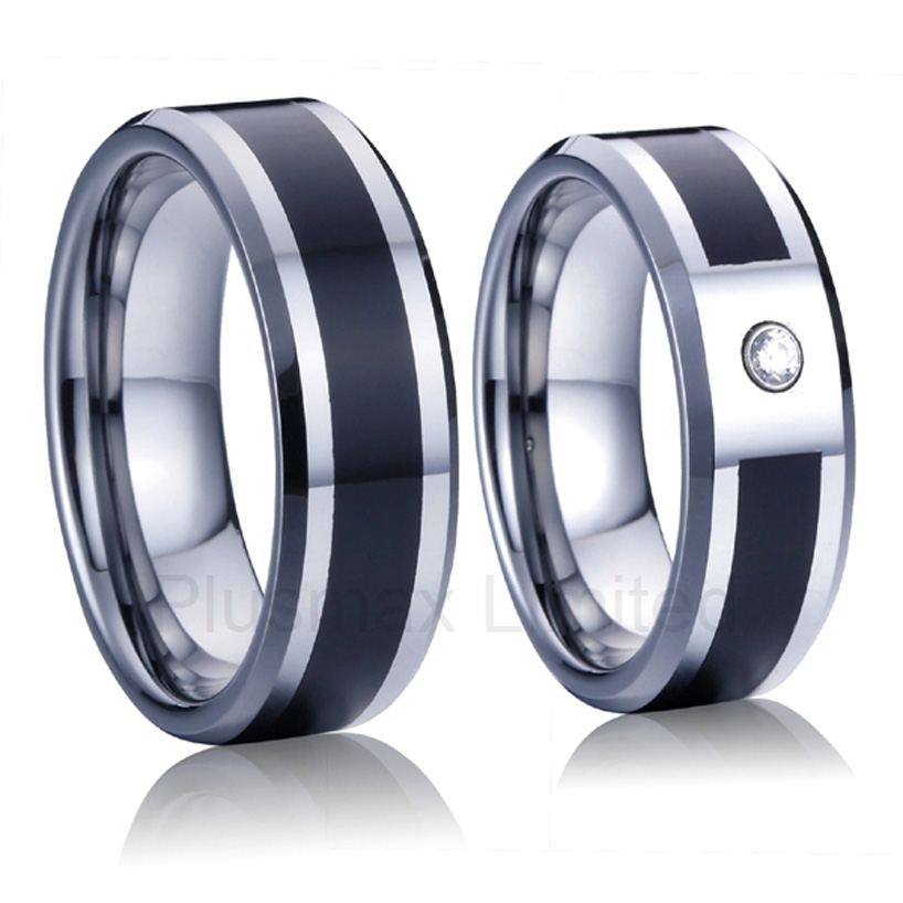 China wholesaler classic and unconventional men and women carbon fiber wedding band couples rings