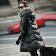 XS-7XL Genuine Leather White Down Coat Women 2016 New Long Jacket Thick Warm Fur Hooded Soft Sheep Skins Outerwear Plus Size