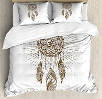 Yoga Duvet Cover Set HDrawn Style Dreamcatcher with Mandala Ancient Spiritual Symbol Hippie Art Bedding Set Brown White