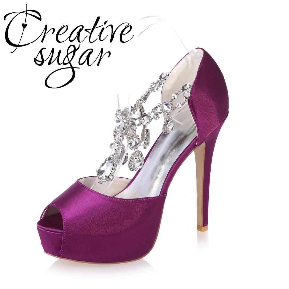Creativesugar Sexy platform open toe satin pumps crystal diamond tassel strap party bridal wedding prom evening dress shoes heel