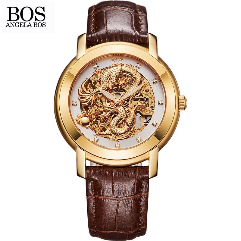 ANGELA BOS סינית הדרקון 3D גילוף זהב שלד - שעונים גברים
