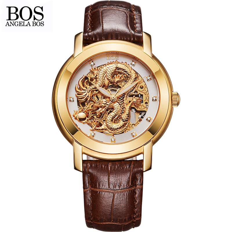 ANGELA BOS Chinese Dragon 3D Carving Gold Skeleton Automatic Mechanical Watch Mens Luxury Watch Men Famous Brand Wrist Watches