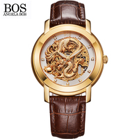 ANGELA BOS Chinese Dragon 3D Carving Gold Skeleton Automatic Mechanical Watch Mens Luxury Watch Men Famous