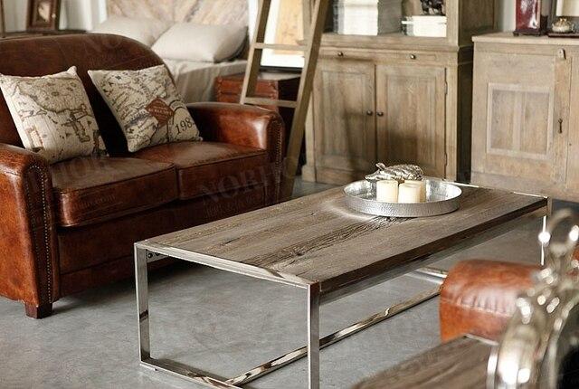 loft amerikaanse land plex van oude grenen hout tafel vierkante