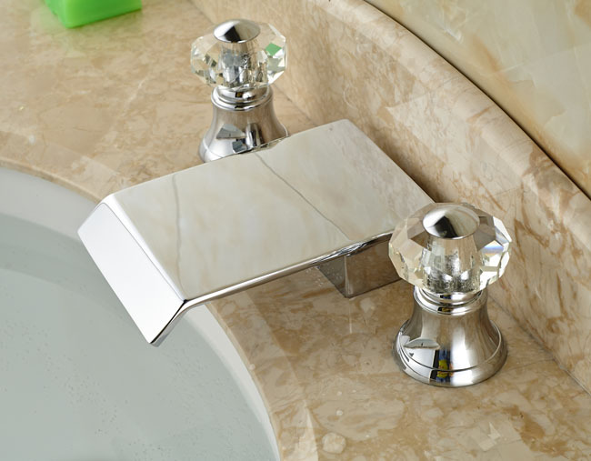 цена на Chrome Brass Waterfall Basin Sink Faucet Dual Handles 3pcs Bathroom Bathtub Mixer Taps Deck Mount