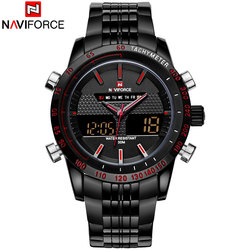 NAVIFORCE Brand Mens 30M Waterproof Sport Watch Men Stainless Steel Analog Digital LED Watches Dual Time Clock Relogio Masculino