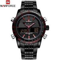 NAVIFORCE Brand Mens 30M Waterproof Sport Watch Men Stainless Steel Analog Digital LED Watches Dual Time