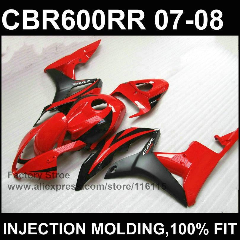 Clean red black Injection molding bodysets for HONDA CBR 600 RR fairings 2007 2008 custom fairing