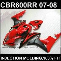 Clean red black Injection molding bodysets for HONDA CBR 600 RR fairings 2007 2008 custom fairing cbr600rr 07 08