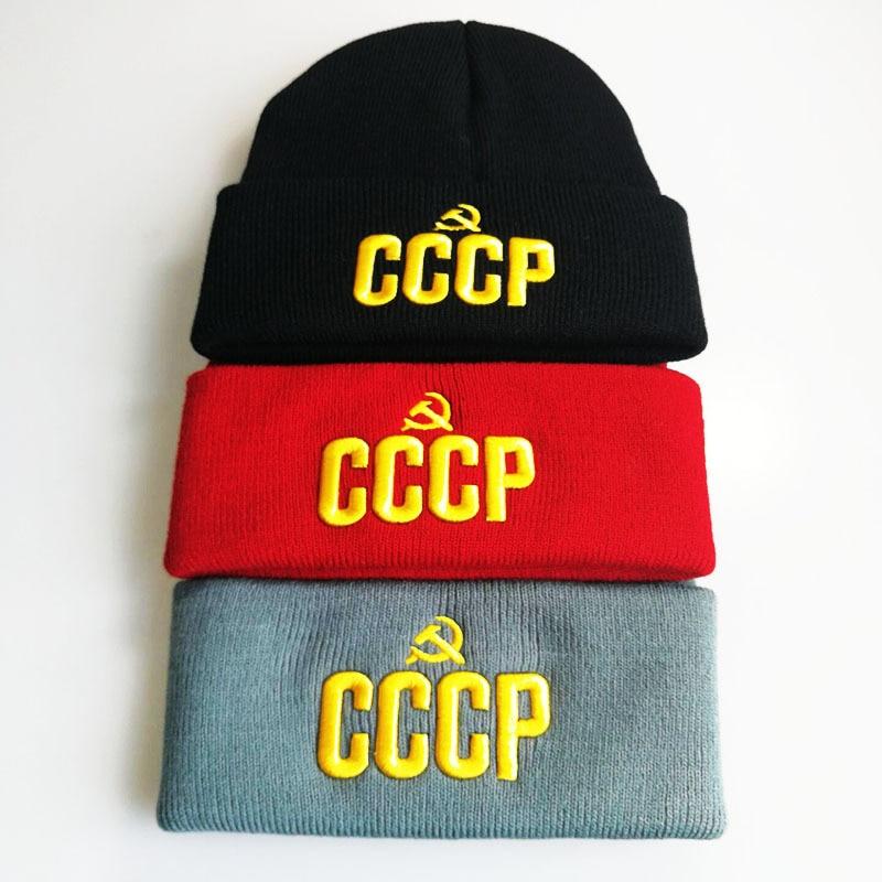 CCCP letter Autumn Winter MEOW Cap Men Women Casual Hip Hop Hats Knitted Skullies Beanies Hat Warm Winter Hat For Women Beanie