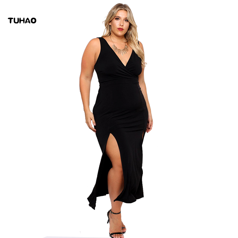 TUHAO High Waist <font><b>sexy</b></font> black Woman LONG <font><b>Dress</b></font> Plus Size 2XL <font><b>3XL</b></font> <font><b>SEXY</b></font> <font><b>Dresses</b></font> female Summer club party <font><b>dresses</b></font> for women BC122 image