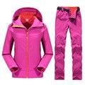 Outdoor Female Hiking Soft Shell Jacket suits with soft shell fleece pant Sport Waterproof Breathable Warm Fleece Rain Jacket