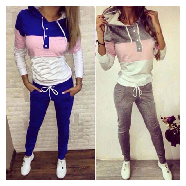 Two Piece Set Tracksuit Harajuku Bts Women Fashion Girls Two Piece Hooded Drawstring Two Piece Casual Oversuit Set Grey Blue